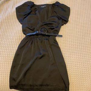 Armani Exchange black ruffle sleeve dress
